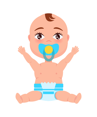 Baby Infant in Diaper Pacifier at Mouth Stretches