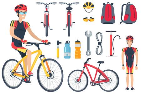 Fietser en fietsgereedschap instellen vectorillustratie Vector Illustratie