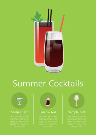 Summer Cocktails Colorful Vector Illustration