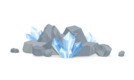 Rocks and Minerals Collection Vector Illustration Stock Illustratie
