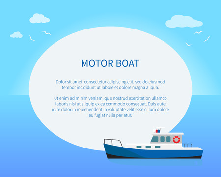 Motor Boat Poster, Colorful Vector Illustration