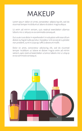 Makeup Products Poster Text Vector Illustration 일러스트