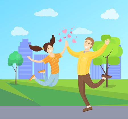 Happy Lovers Merrily Jumping, Boyfriend Girlfriend Illustration