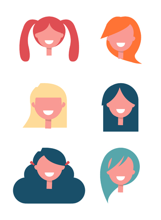Faceless Girls Heads with Stylish Hairstyles Set