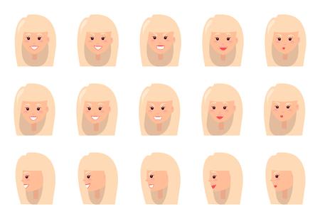 Emotions of Blonde Woman Set Vector Illustration