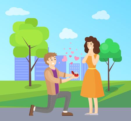 Man Making Proposal to Woman, Vector Illustration 向量圖像