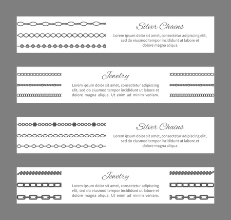 Silver Chains Jewelry Cards Vector Illustration