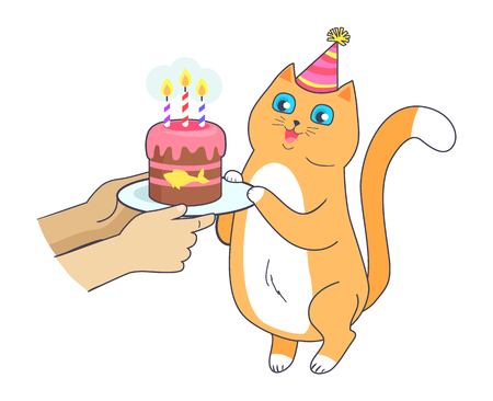 Cat has Birthday Party, Celebrate with Cake Vector Ilustrace