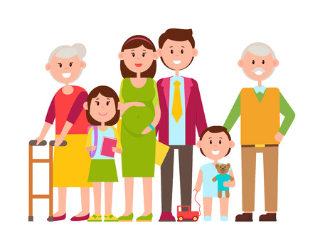 Family Poster of Happy Members Vector Illustration Çizim