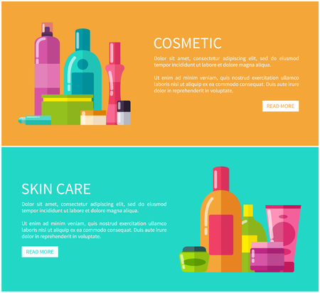 Two Cosmetic Skin Care Cards Vector Illustration