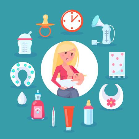 Breastfeeding Mom and Child Vector Illustration