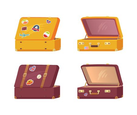 Set of Retro Suitcases Front Back Memory Stickers Illusztráció