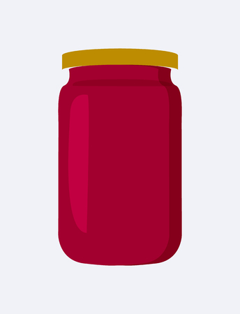 Jar with Strawberry Jam Poster Vector Illustration Ilustração