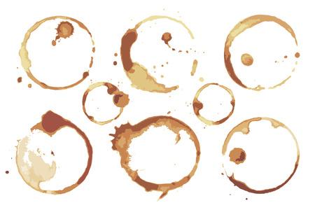 Juego de manchas de café y té dejadas por los fondos de las tazas Ilustración de vector