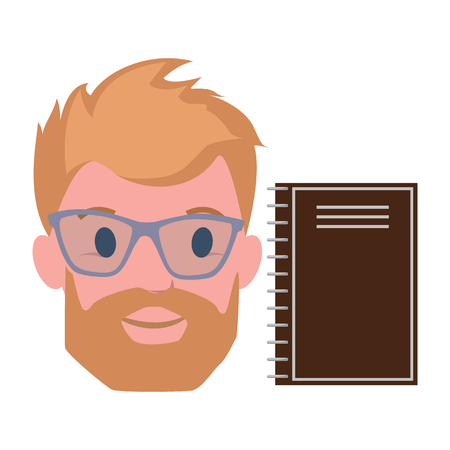 Male Blond Character Beard, in Transparent Glasses Illustration