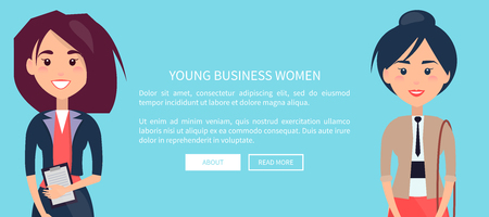 Young Business Women Colorful Vector Illustration