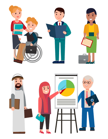 People and Business Work, Vector Illustration Illustration