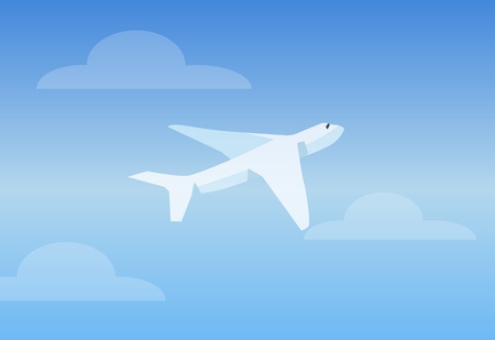 White Aircruft in Bright Sky Vector Illustration  イラスト・ベクター素材
