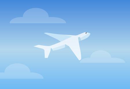 White Aircruft in Bright Sky Vector Illustration Ilustração