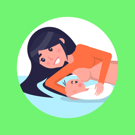 Mother Lies and Feeds Her Newborn Baby with Breast Ilustração