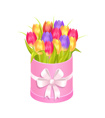 Bouquet of Tulips in Box, Vector Illustration