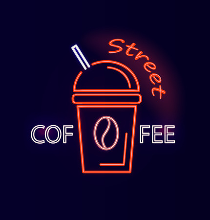 Street Coffee Signboard Neon Vector Illustration Illustration