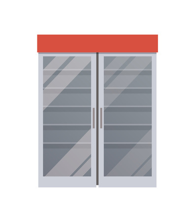 Empty Fridge at Supermarket Vector Illustration