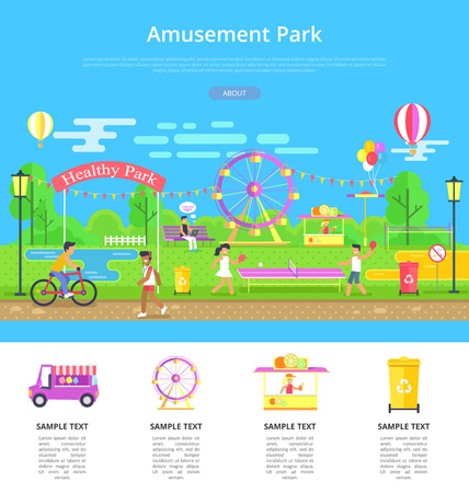 Amusement park poster with text sample and people doing different activities, playing tennis, and riding bicycle, isolated on vector illustration