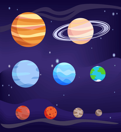 Planet Set of Bodies Poster Vector Illustration Banco de Imagens