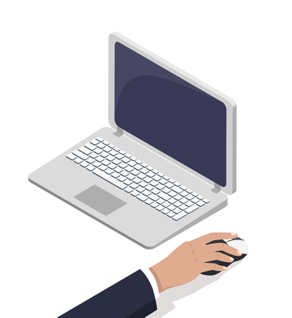 Male Hand Near Open Laptop Touching Computer Mouse