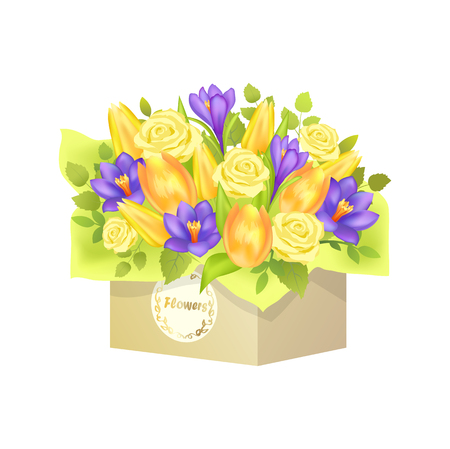 Bouquet of Roses and Tulip Vector Illustration