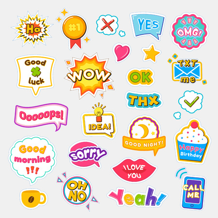 Bright Stickers with Short and Expressive Phrases 矢量图像