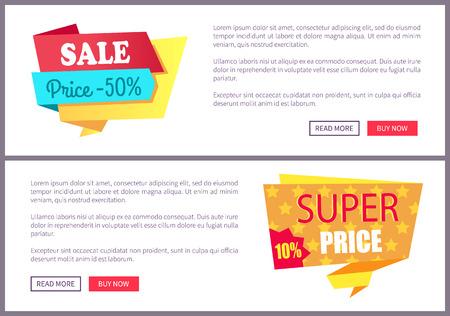 Set Sale Special Offer Order Now Web Poster Vector Illustration