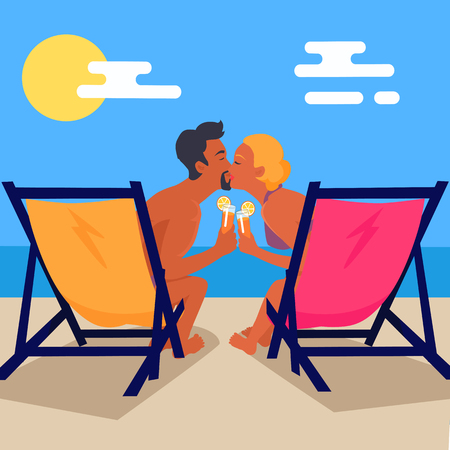 Couple Sits on Recliners with Cocktails and Kisses Иллюстрация