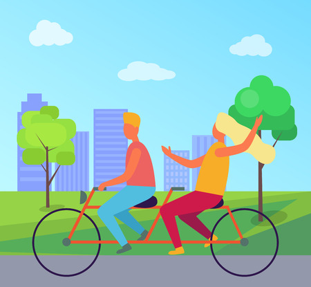 Couple Riding Double Bicycle in Summer Park Иллюстрация