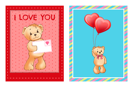 I Love You and Me Teddy Bears Vector Banque d'images - 101734260