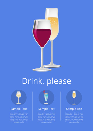 Drinks Please Poster with Glass of Wine Champagne 向量圖像