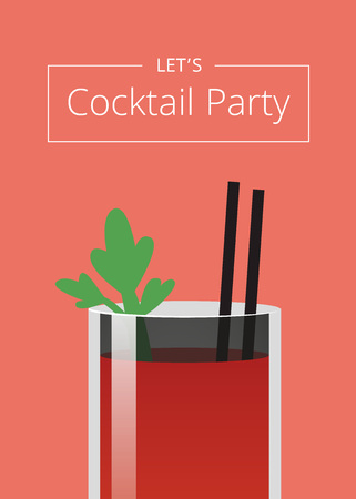 Let s Cocktail Party Poster Vector Illustration