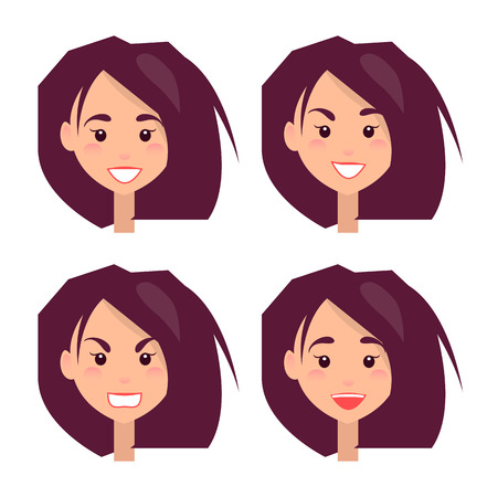 Bright Portraits of Young Girl Vector Illustration 向量圖像