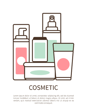 Cosmetic Set Colorful Poster Vector Illustration Çizim