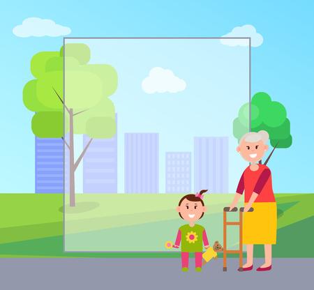 Granny and Granddaughter, Vector Illustration Stock Vector - 101734272