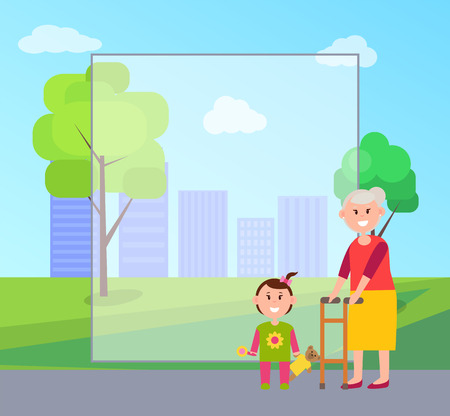 Granny and Granddaughter, Vector Illustration