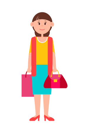 Adult Woman in Casual Clothes with Shopping Bag