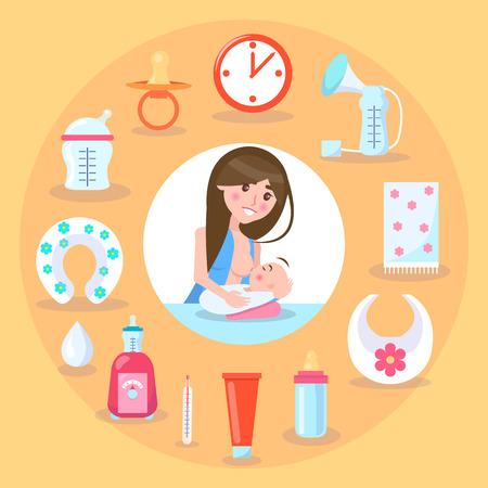 Breastfeeding Mother and Kid Vector Illustration Illusztráció