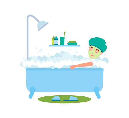 Woman Bathing and Relaxing Vector Illustration