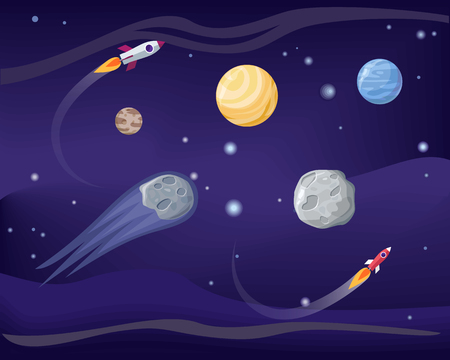 Planets and Rockets Poster Set Vector Illustration Illustration