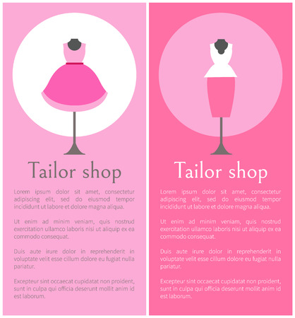 Tailor Shop Promotional Posters with Mannequins Stock Vector - 101734302