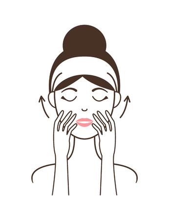 Toepassingstechniek voor gezichtscrème op vrouwelijk model Stockfoto - 101734337