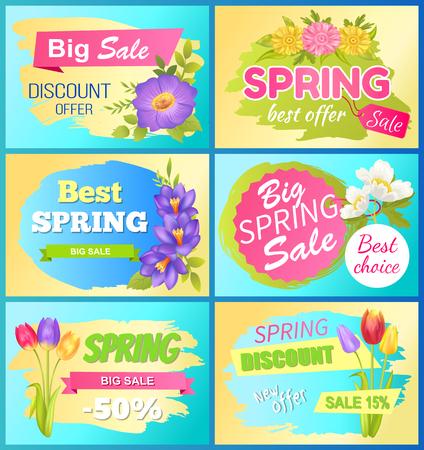 Seasonal Offer Spring Sale Advertisement Flowers Illustration