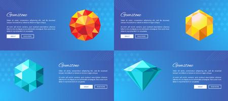 Luxury Gemstones Promotional Internet Posters Set Stockfoto - 101734397